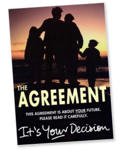 Original cover of Agreement distributed for the...